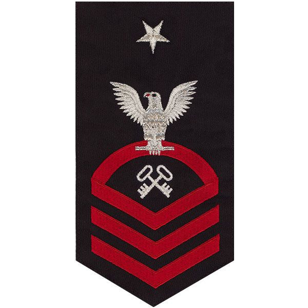 Navy E8 MALE Rating Badge: Storekeeper / Logistics - seaworthy red on blue