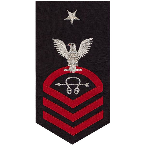 Navy E8 Rating Badge: Sonar Technician - seaworthy red on blue
