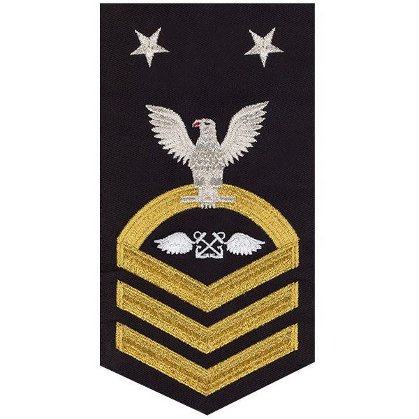 Navy E9 Rating Badge: Aviation Boatswain - seaworthy gold on blue