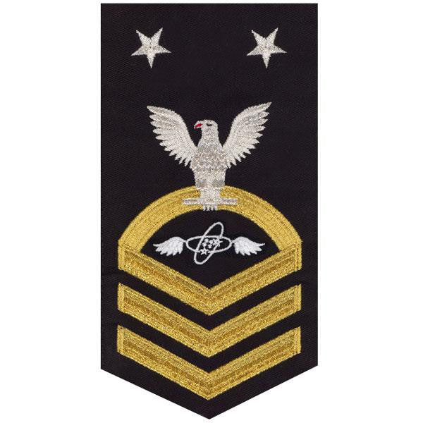 Navy E9 Rating Badge: Aviation Electronics Technician - seaworthy gold on blue