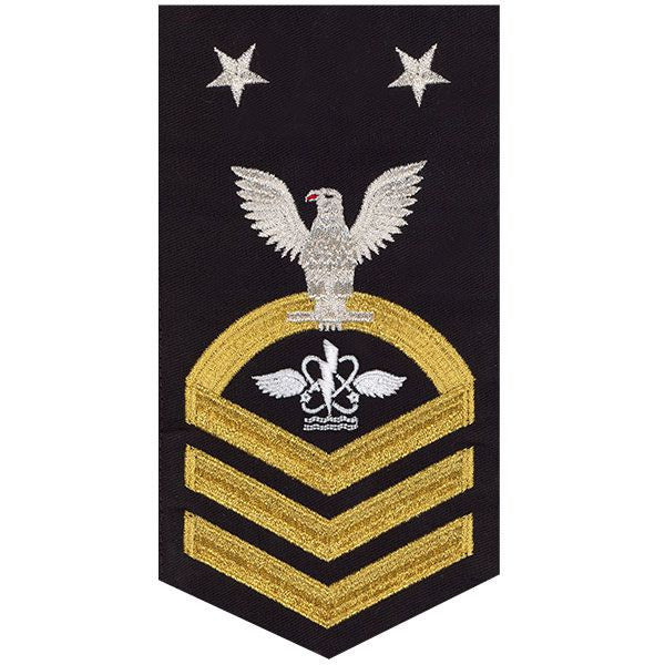 Navy E9 Rating Badge: Aviation Anti-Submarine Warfare Operator - seaworthy gold on blue