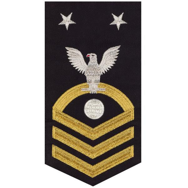 Navy E9 MALE Rating Badge: Electrician's Mate - seaworthy gold on blue