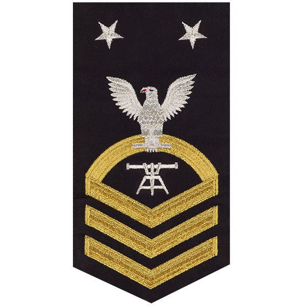 Navy E9 MALE Rating Badge: Fire Control Technician - seaworthy gold on blue