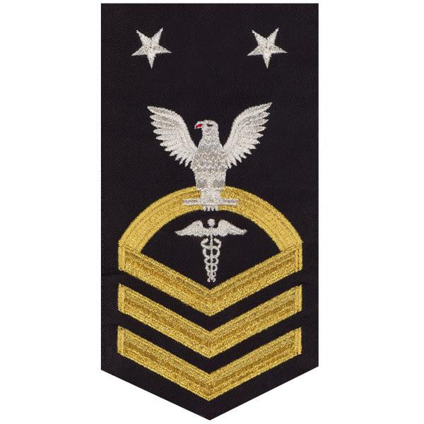 Navy E9 Rating Badge: Hospital Corpsman - seaworthy gold on blue