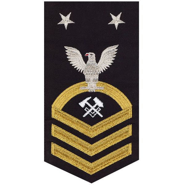 Navy E9 Rating Badge: Hull Maintenance Technician - seaworthy gold on blue