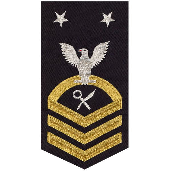 Navy E9 MALE Rating Badge: Intelligence Specialist - seaworthy gold on blue