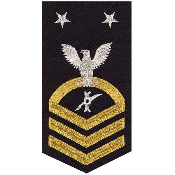Navy E9 MALE Rating Badge: Legalman - seaworthy gold on blue