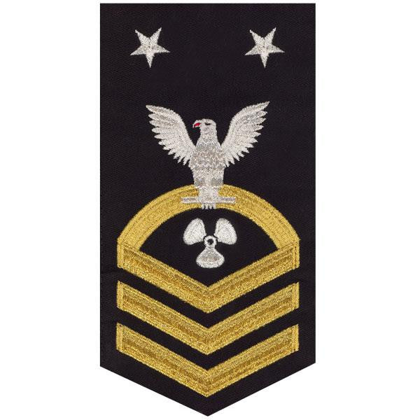 Navy E9 Rating Badge: Machinist's Mate - seaworthy gold on blue