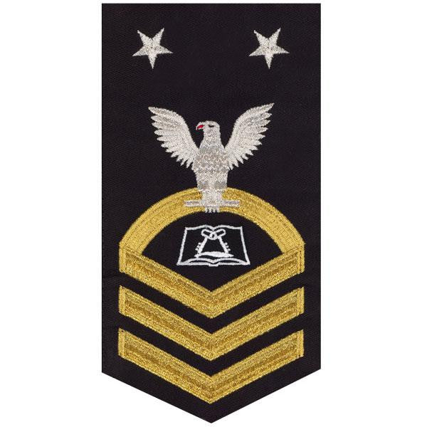 Navy E9 MALE Rating Badge: Culinary Specialist - seaworthy gold on blue