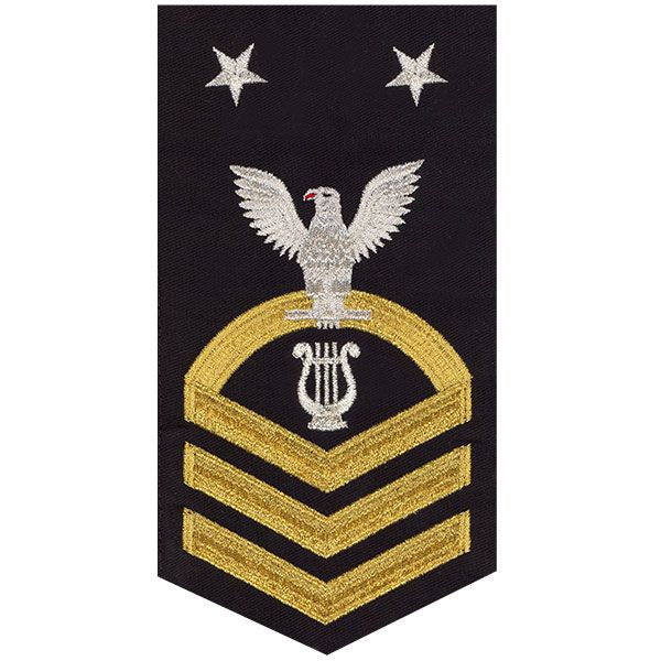 Navy E9 Rating Badge: Musician - seaworthy gold on blue