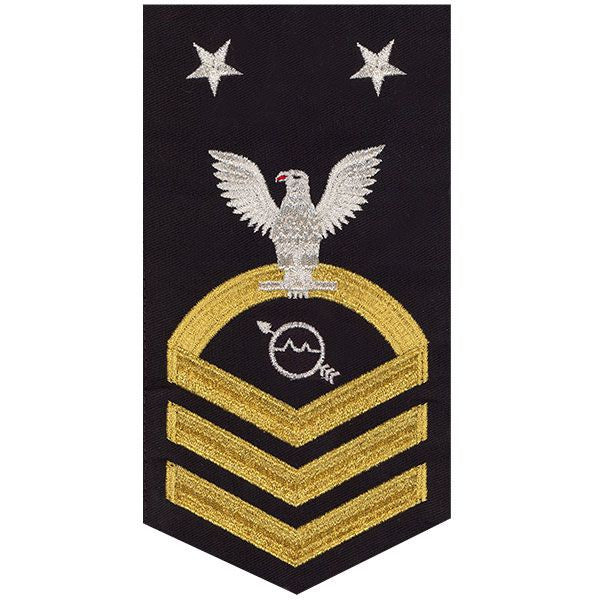 Navy E9 Rating Badge: Operations Specialist - seaworthy gold on blue