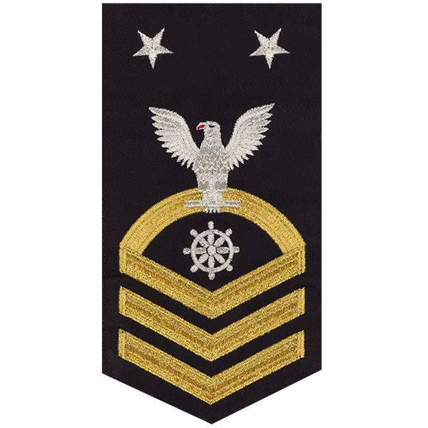 Navy E9 MALE Rating Badge: Quartermaster - seaworthy gold on blue