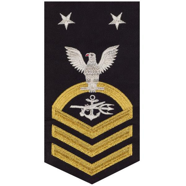 Navy E9 Rating Badge: Special Warfare Operator - seaworthy gold on blue