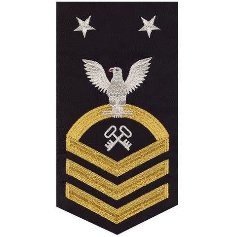 Navy E9 Rating Badge: Storekeeper / Logistics - seaworthy gold on blue