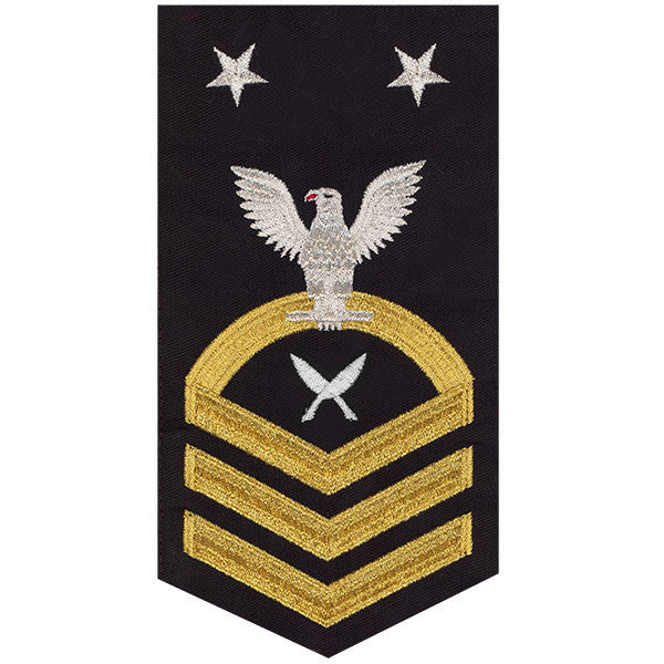 Navy E9 MALE Rating Badge: Yeoman - seaworthy gold on blue