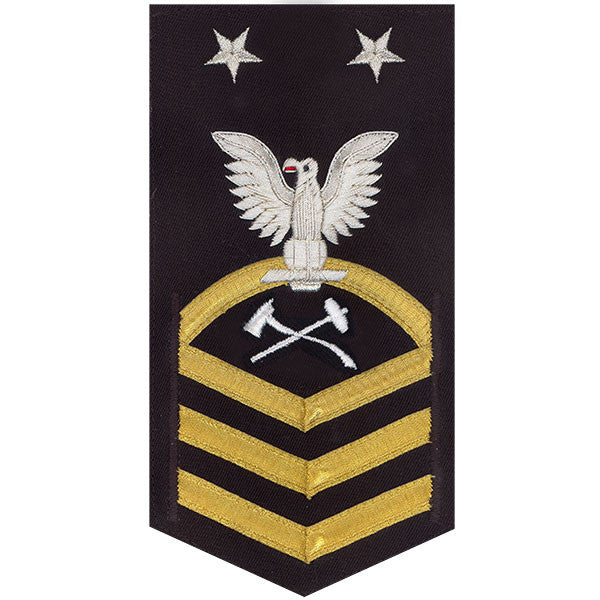 Navy E9 MALE Rating Badge: Damage Controlman - vanchief on blue