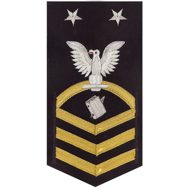 Navy E9 Rating Badge: Personnelman - vanchief on blue