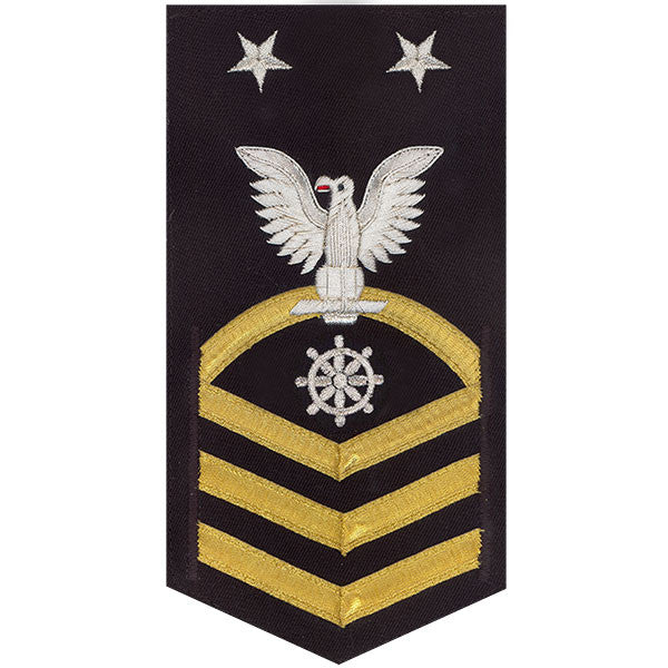 Navy E9 Rating Badge: Quartermaster - vanchief on blue