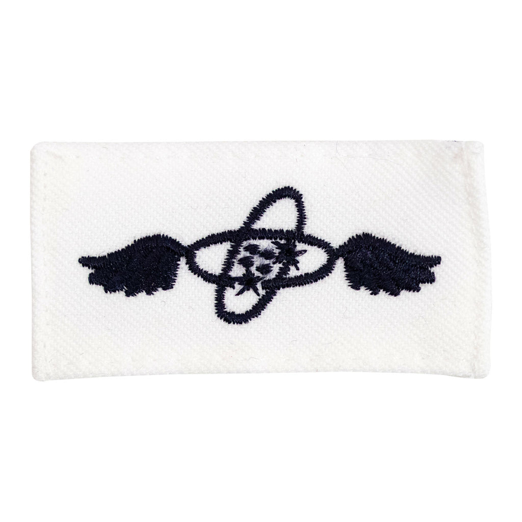 Navy Rating Badge: Striker Mark for AT Aviation Electronics Technician - white CNT for dress uniforms