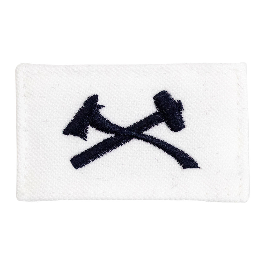Navy Rating Badge: Striker Mark for DC Damage Controlman - white CNT for dress uniforms