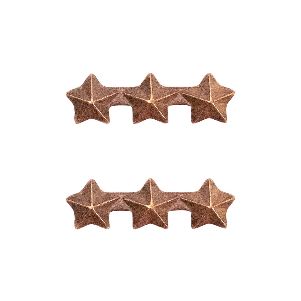 Ribbon Attachments: Three Bronze Stars Mounted on a Bar - bronze
