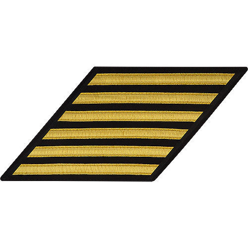Navy Enlisted Hash Marks: Gold Lace on Serge - set of 6
