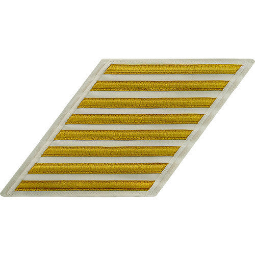 Navy CPO Hash Marks: Gold Lace on White - set of 8