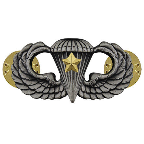 Army Badge: Combat Parachute Fifth Award - silver oxidized