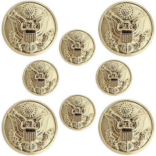 Army Button Set: Eagle Hopper Back with Toggles - 4x36 ligne and 4x25 ligne