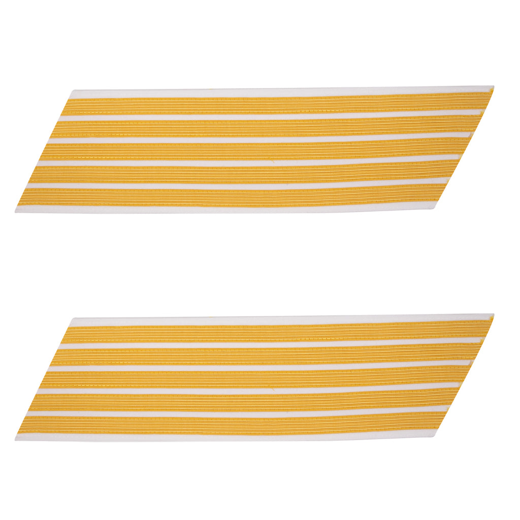 Army Service Stripe: Gold Embroidered on White - male, set of 5