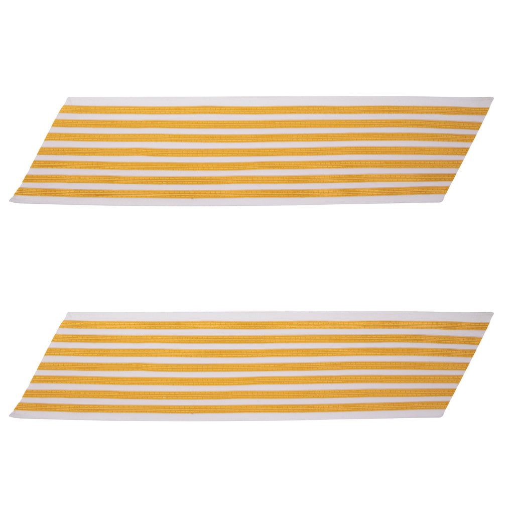 Army Service Stripe: Gold Embroidered on White - female, set of 7