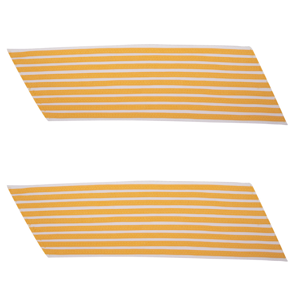 Army Service Stripe: Gold Embroidered on White - female, set of 9