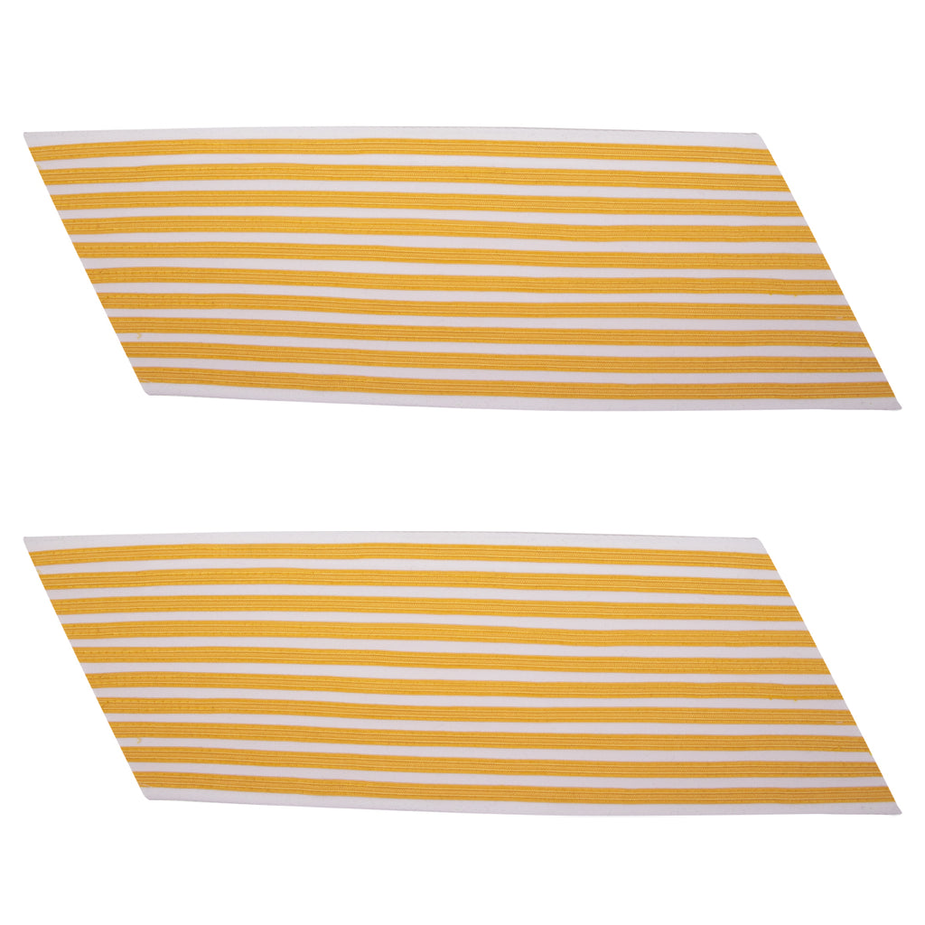 Army Service Stripe: Gold Embroidered on White - female, set of 10