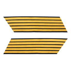 Army Service Stripe: Gold Embroidered on Blue - male, set of 5