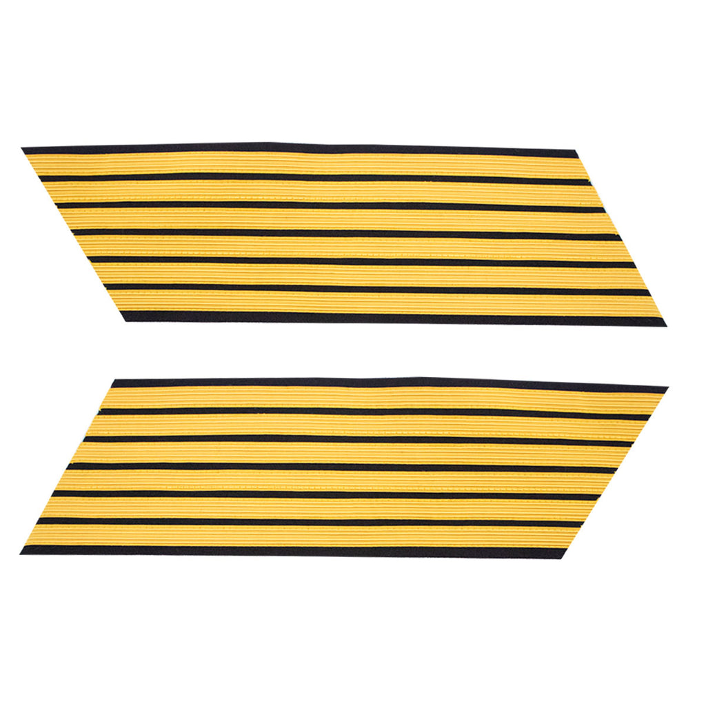 Army Service Stripe: Gold Embroidered on Blue - male, set of 6