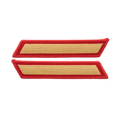 Marine Corps Service Stripe: Male - gold embroidered on red, set of 1