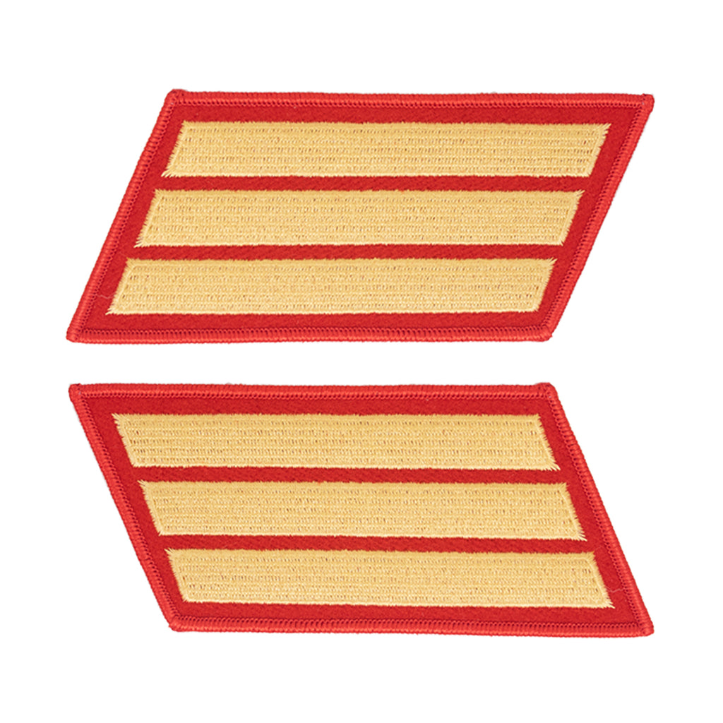 Marine Corps Service Stripe: Male - gold embroidered on red, set of 3