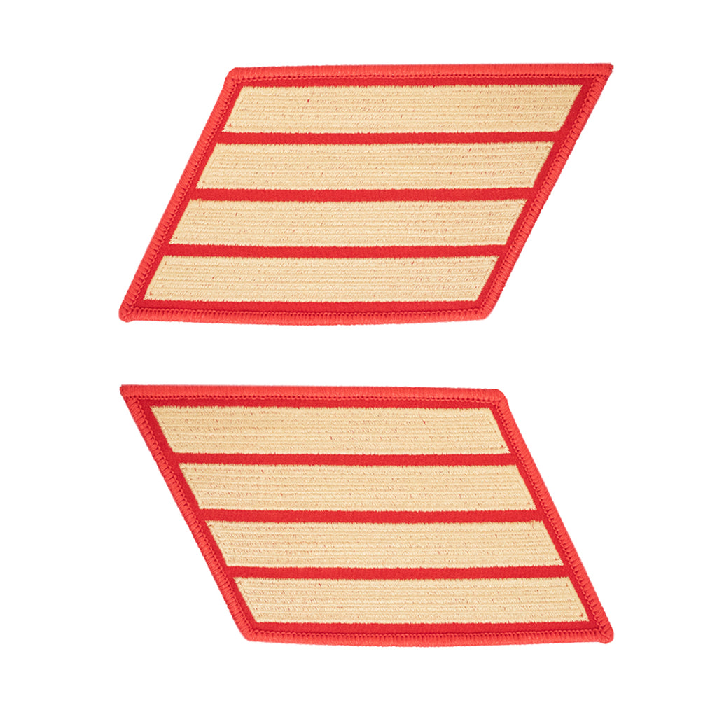 Marine Corps Service Stripe: Male - gold embroidered on red, set of 4