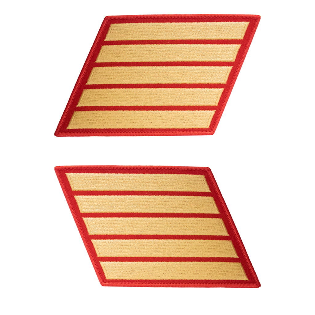 Marine Corps Service Stripe: Male - gold embroidered on red, set of 5