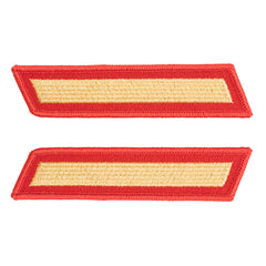 Marine Corps Service Stripe: Female - gold on red, set of 1