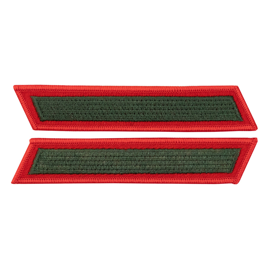 Marine Corps Service Stripe: Male - green embroidered on red, set of 1