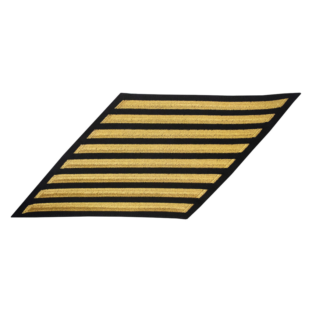 Navy CPO Hash Marks: Seaworthy Gold Embroidered on Blue - set of 8