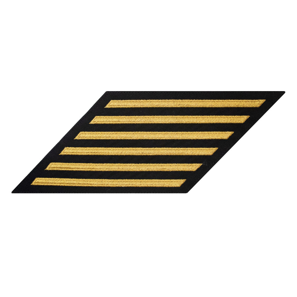 Navy Hash Marks: Seaworthy Gold on Blue - female, set of 6