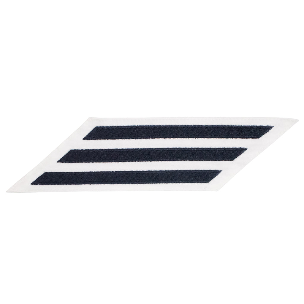 Navy Enlisted Hashmarks: Blue Embroidered on White CNT - set of 3