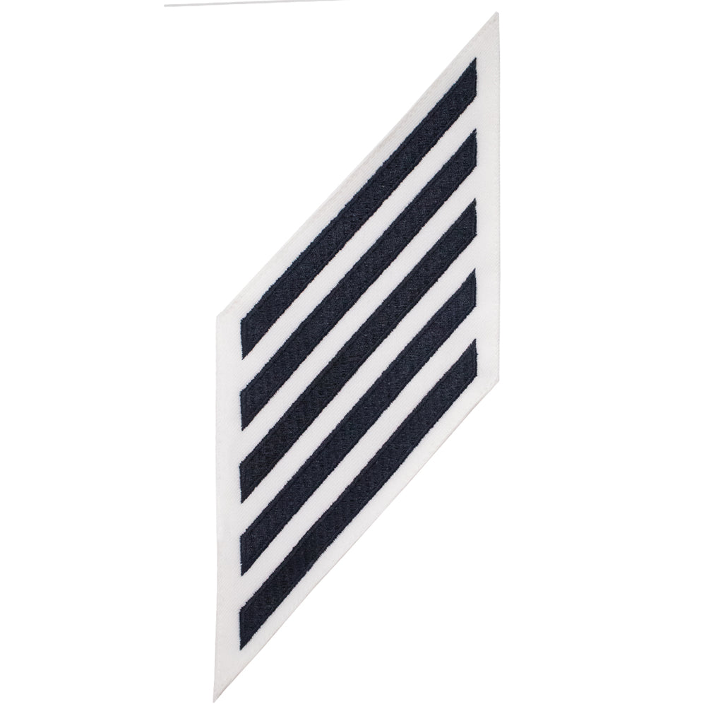 Navy Enlisted Hashmarks: Blue Embroidered on White CNT - set of 5