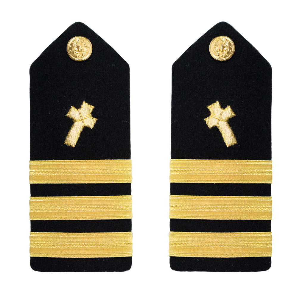 Navy Shoulder Board: Commander Christian Chaplain - male