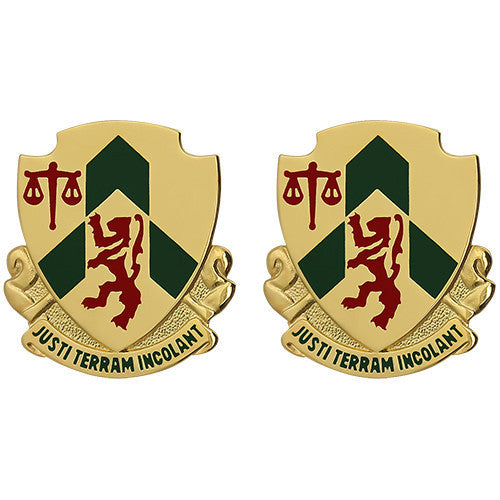 Army Crest: 796th Military Police Battalion - Justi Terram Incolant