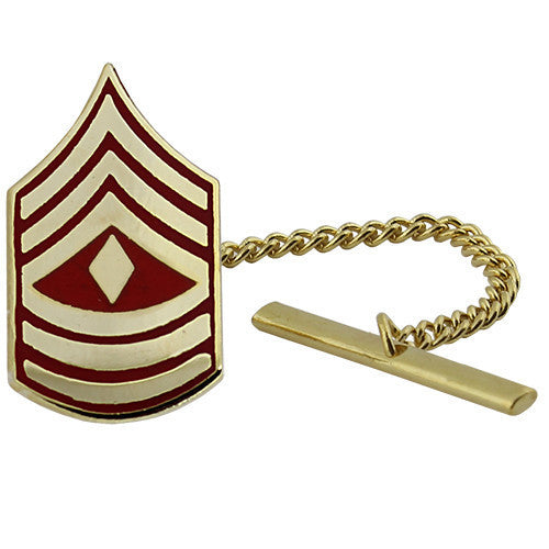 Marine Corps Tie Tac: First Sergeant - gold and red