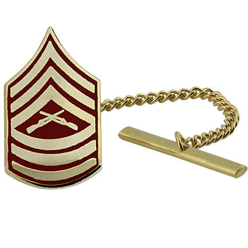 Marine Corps Tie Tac: Master Sergeant - gold and red