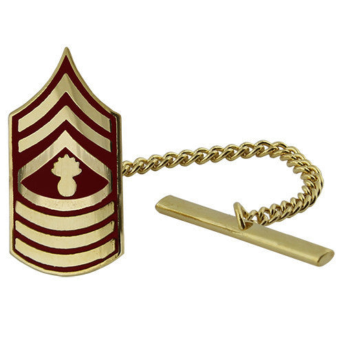 Marine Corps Tie Tac: Master Gunnery Sergeant - gold and red